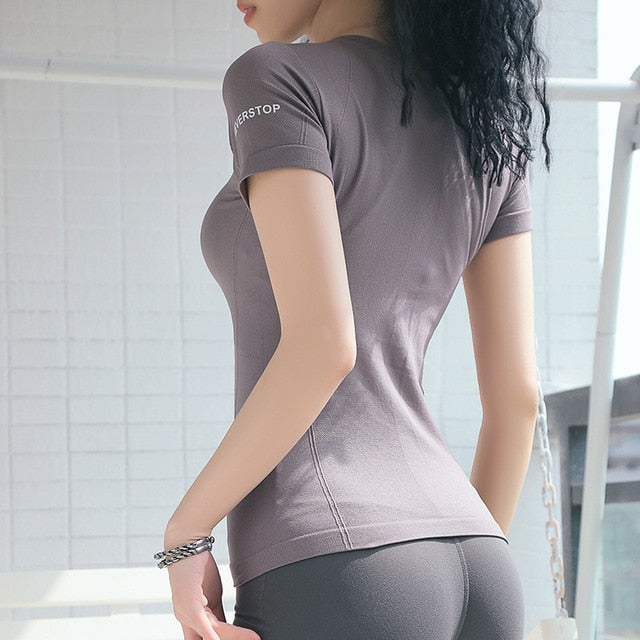 Quick-Dry Short-Sleeved Sports Top - Yoga Blush