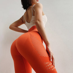 High Waist Hollow-Out Energy Seamless Yoga Fitness Leggings - Yoga Blush