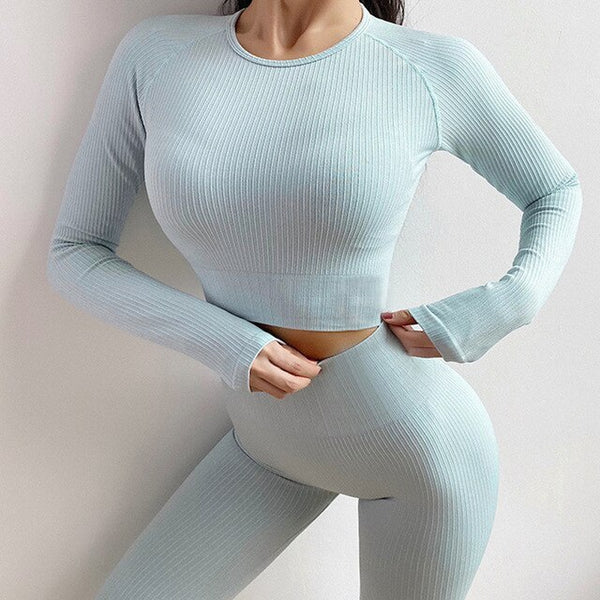 Pastel Long-Sleeved Sports Top - Yoga Blush