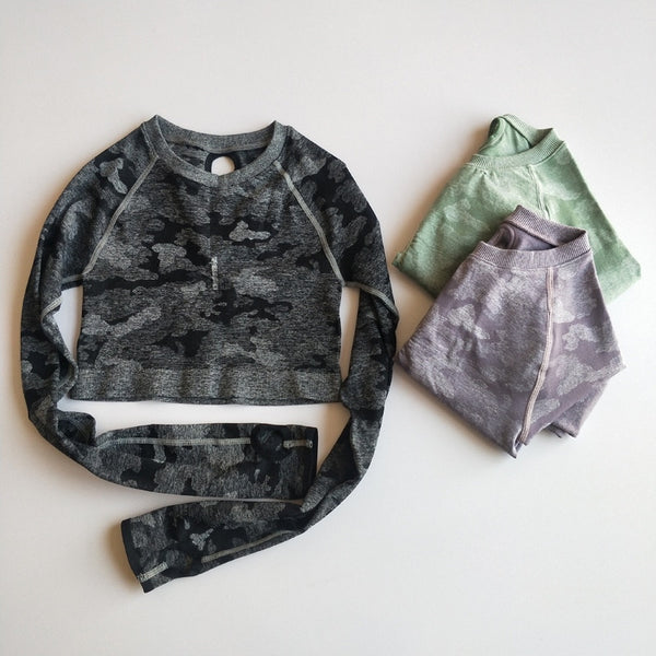 Camo Long-Sleeved Seamless Crop Top - Yoga Blush
