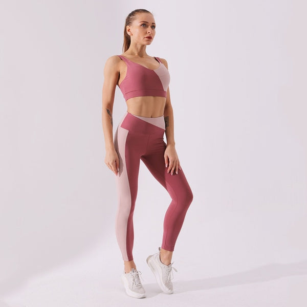 Color Block Seamless Yoga Workout Set - Yoga Blush