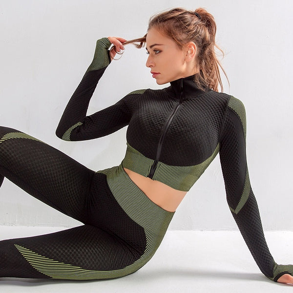 2-Piece Long-Sleeved Yoga Fitness Set - Yoga Blush