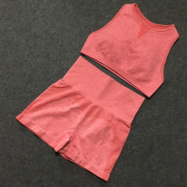 2-Piece Sports Bra & Shorts Set - Yoga Blush