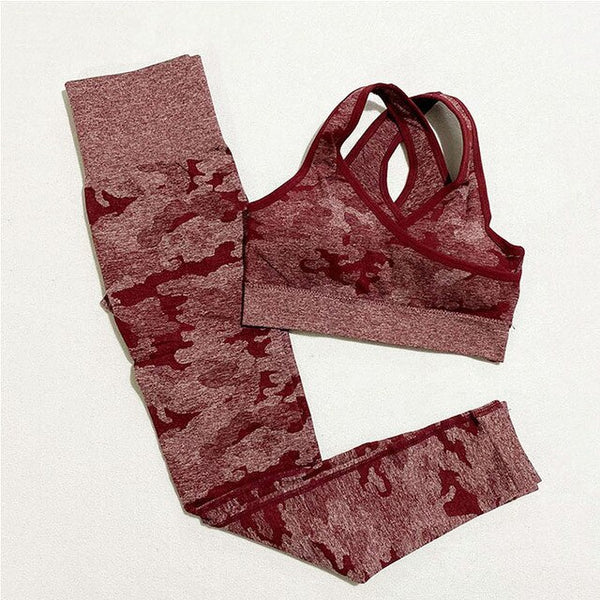 2-Piece Camo Seamless Yoga Set - Yoga Blush