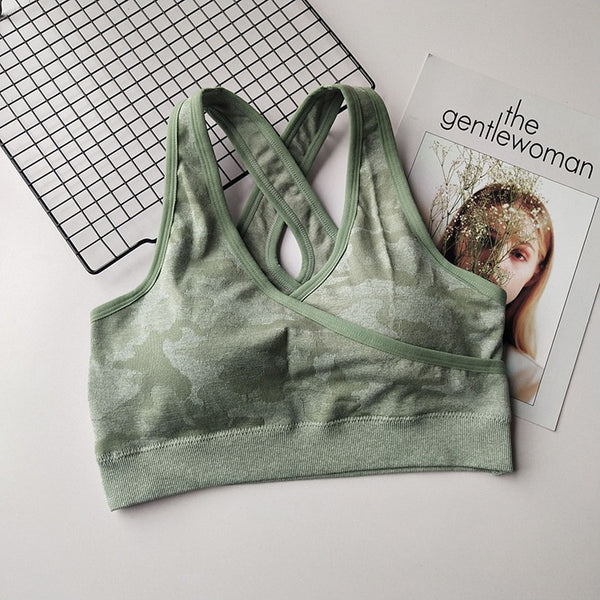 Camo Padded Sports Bra - Yoga Blush