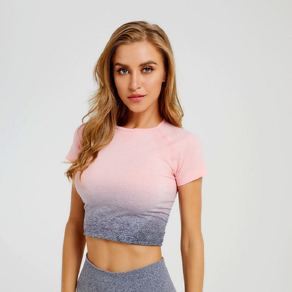 Short-Sleeved Ombre Sports Crop Top - Yoga Blush