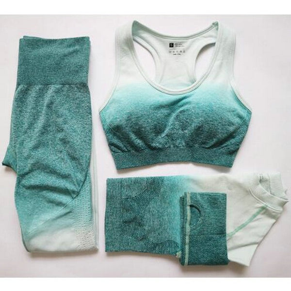 3-Piece Ombre Seamless Yoga Set - Yoga Blush