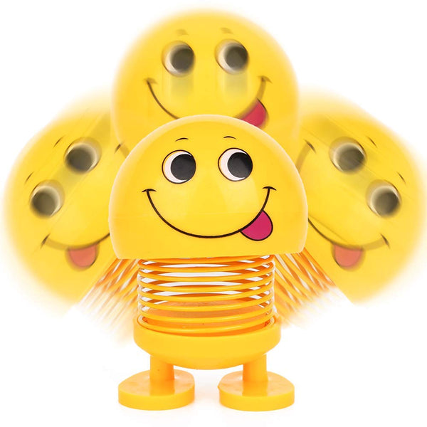 VeeDee Spring Emoji Shaking Head Dolls Smiley Face Dancing Nodding Toys Theme Party Favors Car Dashboard Table Decoration (2pcs)