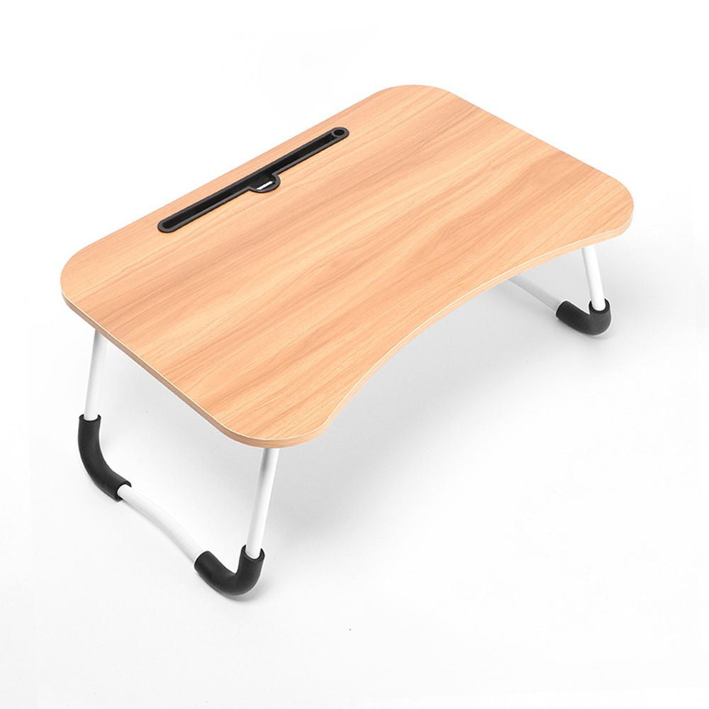 Veedee Foldable Bed Tray Lap Desk, Portable Lap Desk with Phone Slots (wooden)