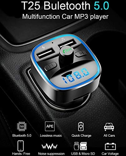 VeeDee T25 Bluetooth V5.0 FM Transmitter for Car, QC3.0 Wireless Radio Adapter Music Player Car Kit with Hands Free Calling and 2 USB Ports Charger Support USB Flash Drive