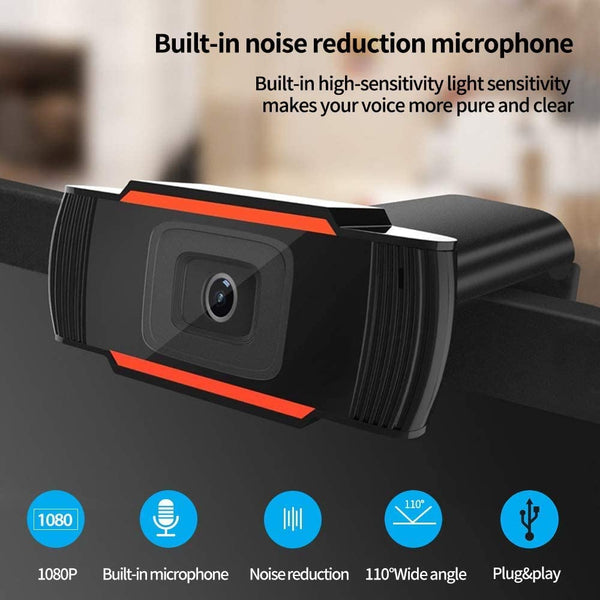 VeeDee HD Webcam with Microphone, USB 2.0 Desktop Laptop Computer Web Camera, Plug and Play, for Windows Mac OS, for Video Streaming, Conference, Gaming, Online Classes Mega Pixel (CU4)