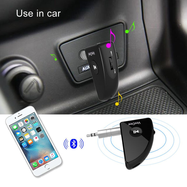 VeeDee HK007 Car Bluetooth Receiver v4.2, Portable Wireless Audio Adapter 3.5 mm Aux Stereo Output, Built-in Microphone