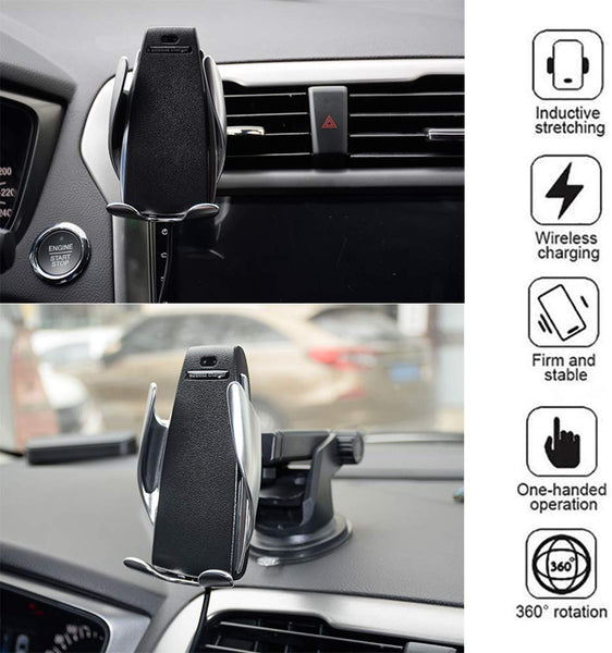 VeeDee Car Mobile Holder, Wireless Car Charger Automatic Clamping Fast Charging Phone Holder Mount in Car for iPhone Xs/XR/X/8 Samsung Galaxy S10/S10+/S9/S9+/S8/S8 Edge, Note 9/8/5