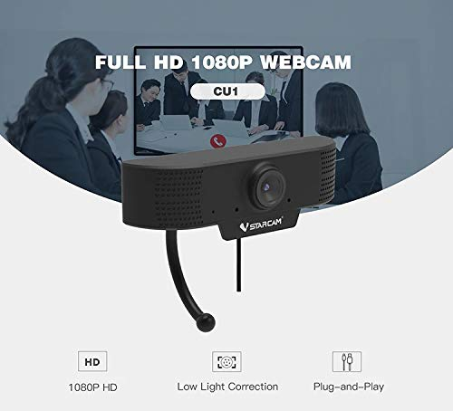 VeeDee 1080P Webcam with Microphone, USB 2.0 Desktop Laptop Computer Web Camera, Plug and Play, for Windows Mac OS, for Video Streaming, Conference, Gaming