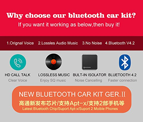 VeeDee Kript Noise Cancellation Car / Audio Music Receiver CSR Bluetooth 4.0 for Car / Home Stereo Supports with Noise Isolator, Dual Port USB Car Charger and Magnetic Base Generation 2