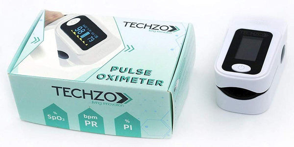 Techzo Smart Care Pulse Oximeter, Fingertip Oxygen Saturation Monitor, SpO2 and Heart Rate Monitoring With LED Display (White)