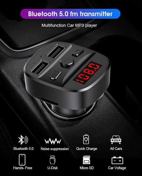 VeeDee TVARA T60 Handsfree Call Car Charger,Wireless Bluetooth FM Transmitter Radio Receiver, MP3 Music Stereo Adapter, Dual USB Port Charger