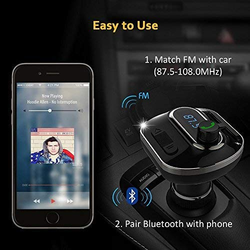 VeeDee Bluetooth FM Transmitter, T19 Radio Adapter Bluetooth Car Kit, 5V/3.1A Dual USB Ports Car Charger, Support TF Card + U Disk, Handsfree Calling by VeeDee