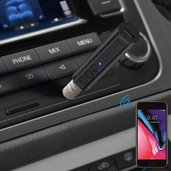 VeeDee P9 II CSR V4.2 Bluetooth Car Kit,Portable Wireless Audio Adapter 3.5mm Aux Stereo Output and Built-in Microphone for Home Audio Music Streaming Sound System