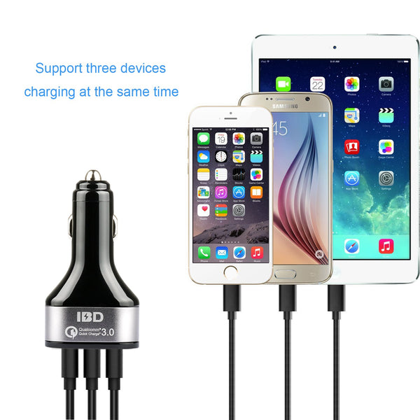 VeeDee IBD Qualcomm Certificated Quick Charge 3.0 Car Charger,42w 3 port usb car charger with Smart Charging Port for iPhone 7 / 6s / Plus, iPad / Air 2 / mini, Galaxy S7 / S6 /, Note 5 / 4, LG, HTC and More
