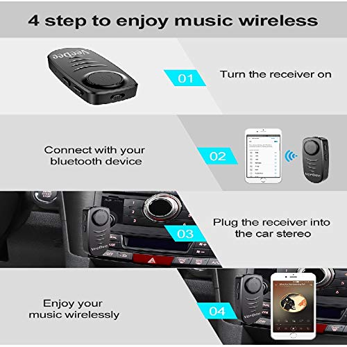 VeeDee J19 Bluetooth Receiver, Wireless Bluetooth 5.0 Car Adapter & Bluetooth Car Aux Adapter for Music Streaming Sound System, Hands-Free Bluetooth Car Kits for Home/Car Audio Stereo System