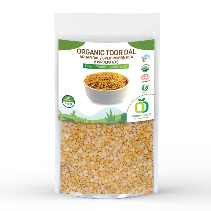 Organic Delight Toor Dal/Arhar Dal/Split Pigeon Pea (Unpolished) 500GM - Gourmetdelight