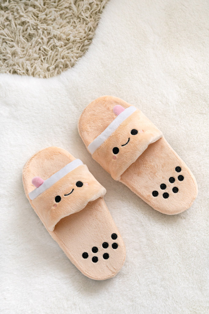 Pearl Boba Tea Plush Slides