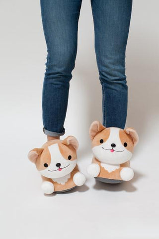 Milo Corgi Plush Backpack & Heated Slippers Combo