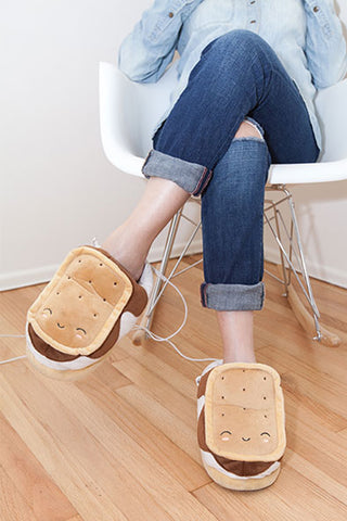 S'mores USB Heated Plush Slippers
