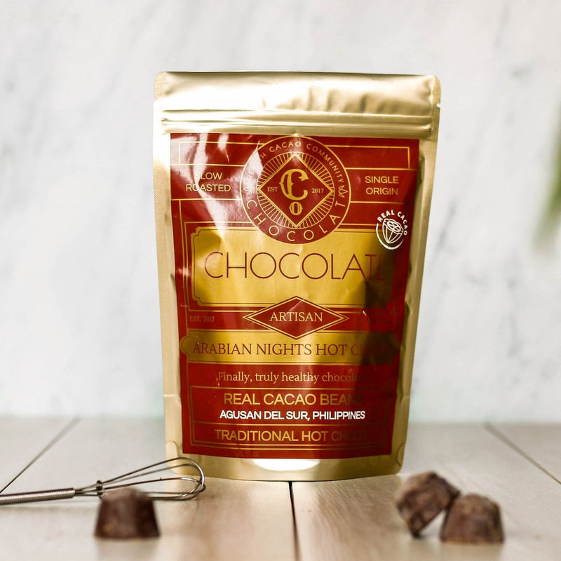 A bag of Chocolatl Arabian nights hot chocolate blocks, Gluten & Nut Free