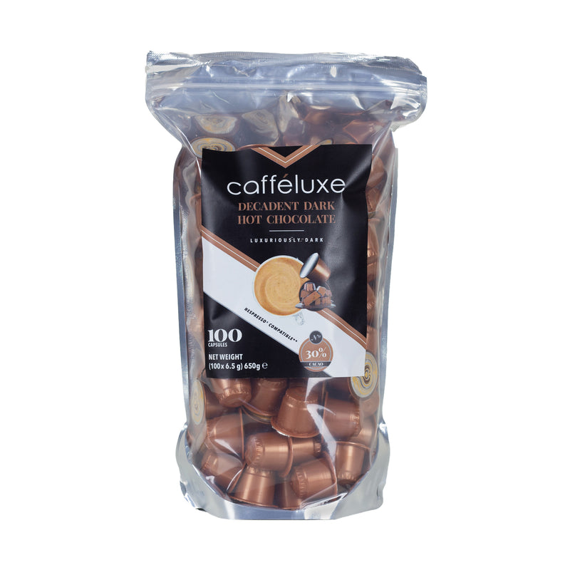 Vale bag of 100 delicious Decadent hot chocolate capsules, compatible with Nespresso machines