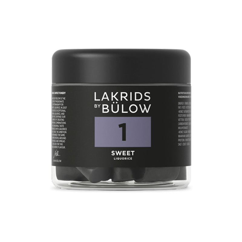 a 150g jar of  1 Sweet liquorice for Lakrids by Bulow