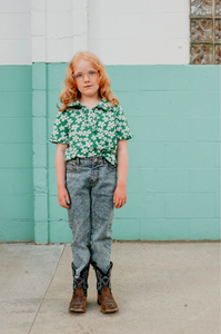 Fish & kids polo flower green