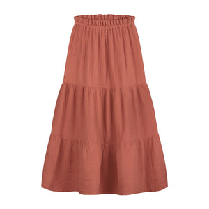 daily brat mio maxi skirt rusty red