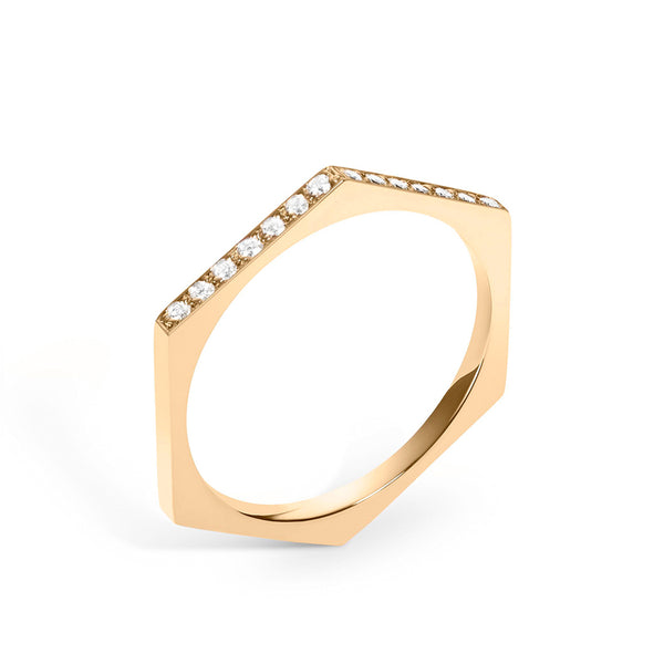 Hex Ring | White Diamonds