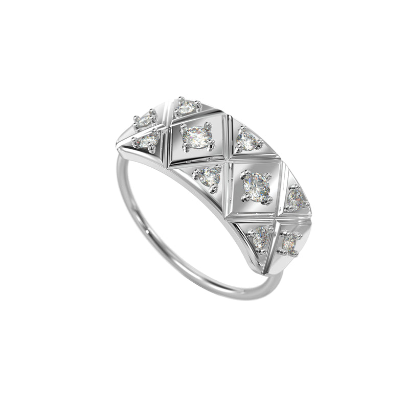 Quilted shield 14kt white gold & diamond ring