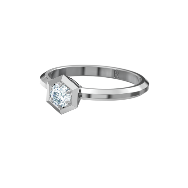 Six Sides / beveled band / 0.25ct