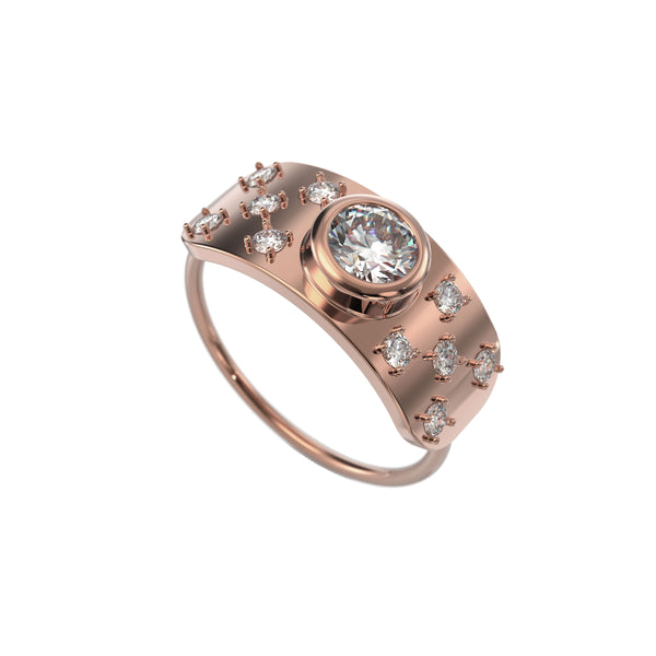 Bezel shield 14kt rose gold & diamond ring