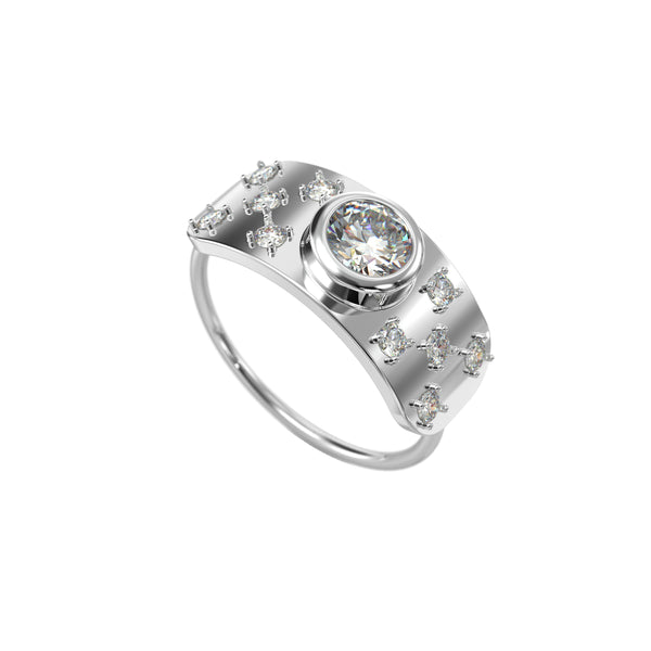 Bezel shield 14kt white gold & diamond ring