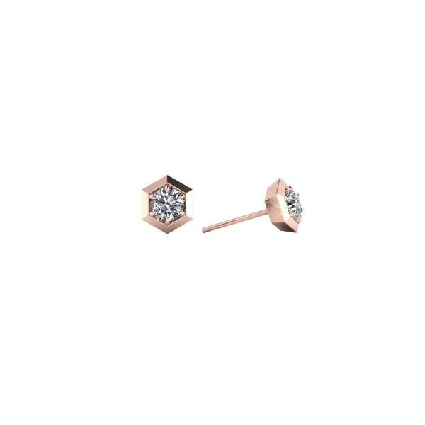 Six sides 14kt rose gold & white diamond stud earring