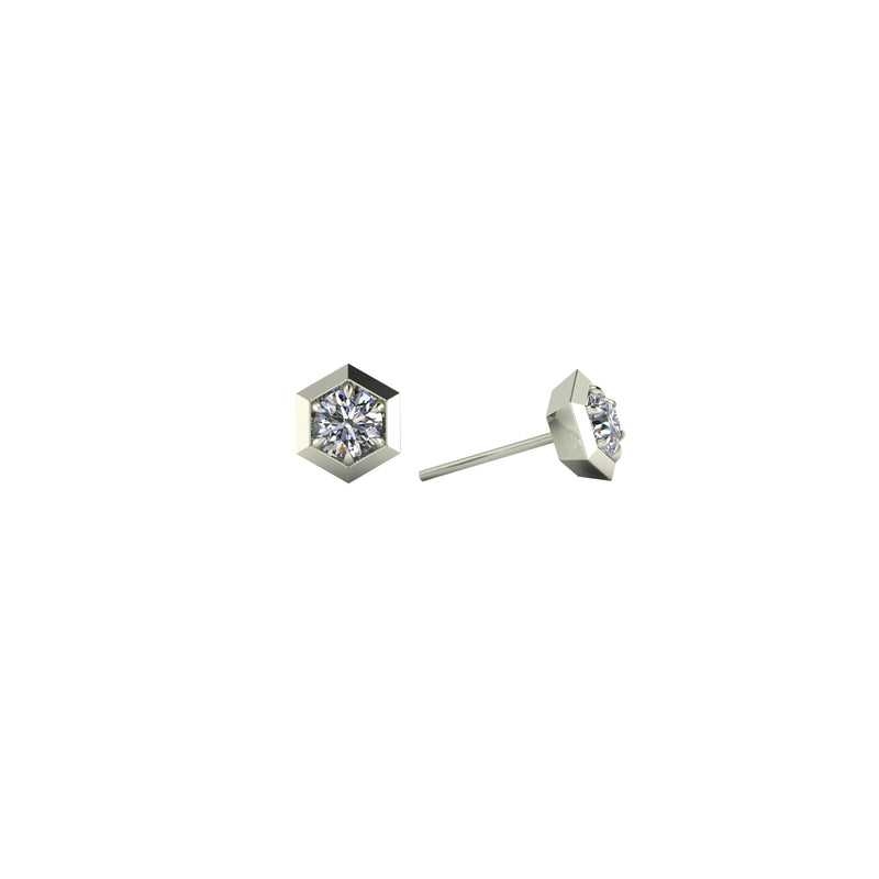 Six sides 14kt white gold & white diamond stud earring