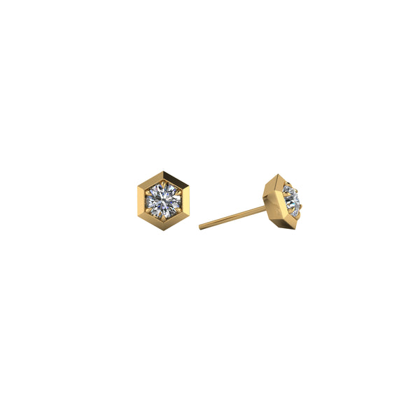 Six sides 14kt yellow gold & white diamond stud earring