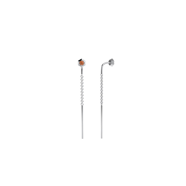 Six sides threader earring 14kt white gold & orange sapphire