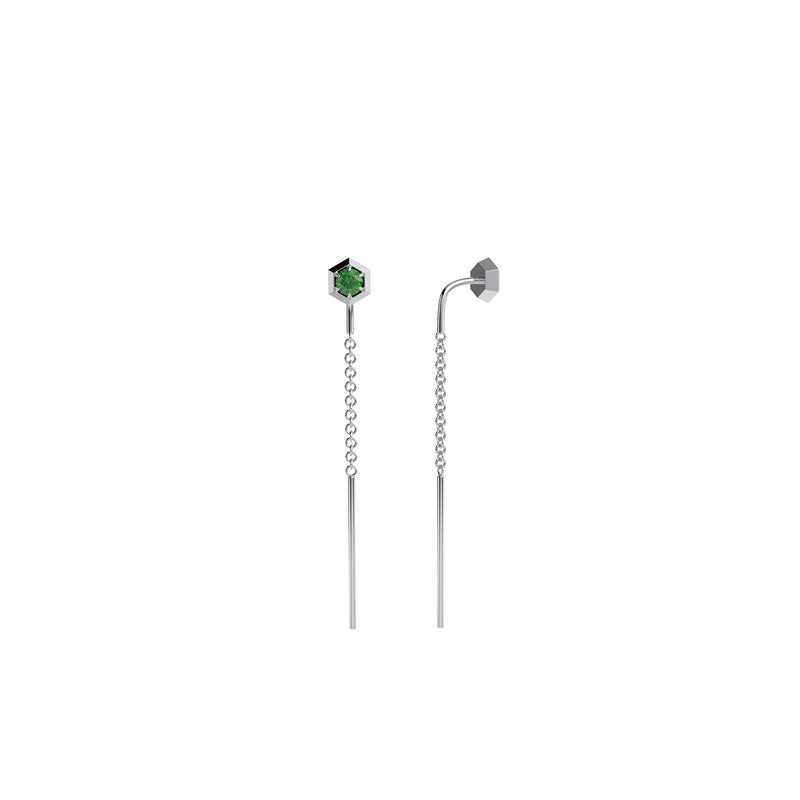 Six sides threader earring 14kt white gold & tsavorite garnet