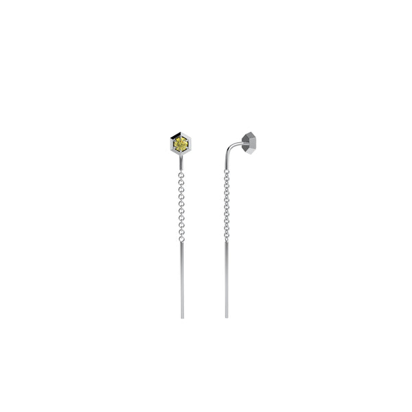 Six sides threader earring 14kt white gold & yellow sapphire
