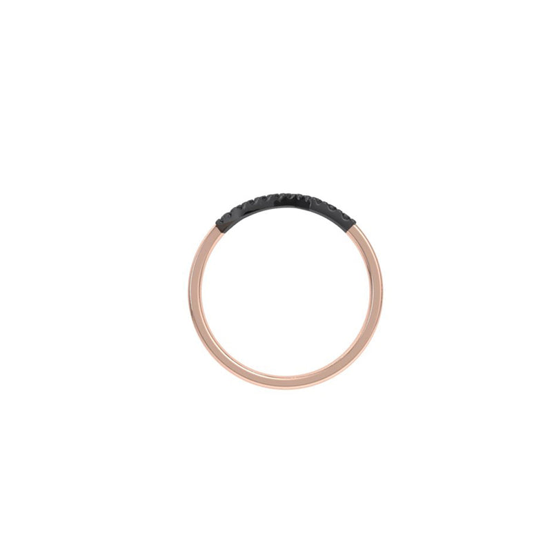 Sound wave 9kt rose gold & black diamond ring
