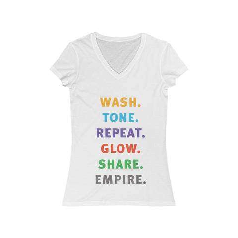 Wash Tone Repeat Share Women's Jersey Short Sleeve V-Neck Tee