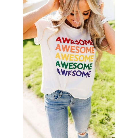 Awesome Printed Rainbow Tee