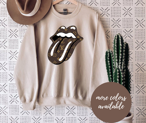 Brown Monogram Print Tongue Crew