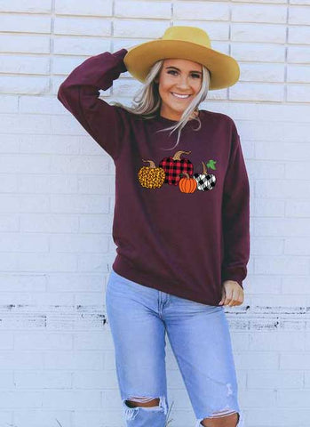 Printed Pumpkin Patch Sweatshirt